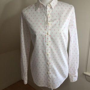 pink anchor print button down shirt sz S